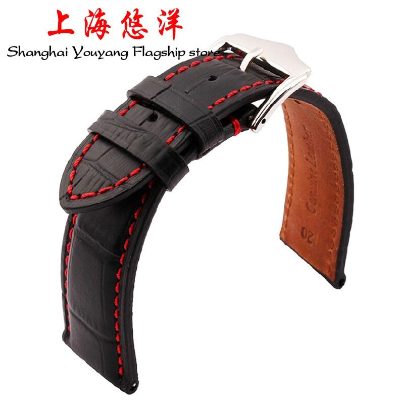 18 მმ 19 მმ 20 მმ 21 მმ 22 მმ 23 მმ 23 მმ 24mm ახალი შავი ნამდვილი ტყავის Watchband Watch Band სამაჯური სამაჯური წითელი ძაფით