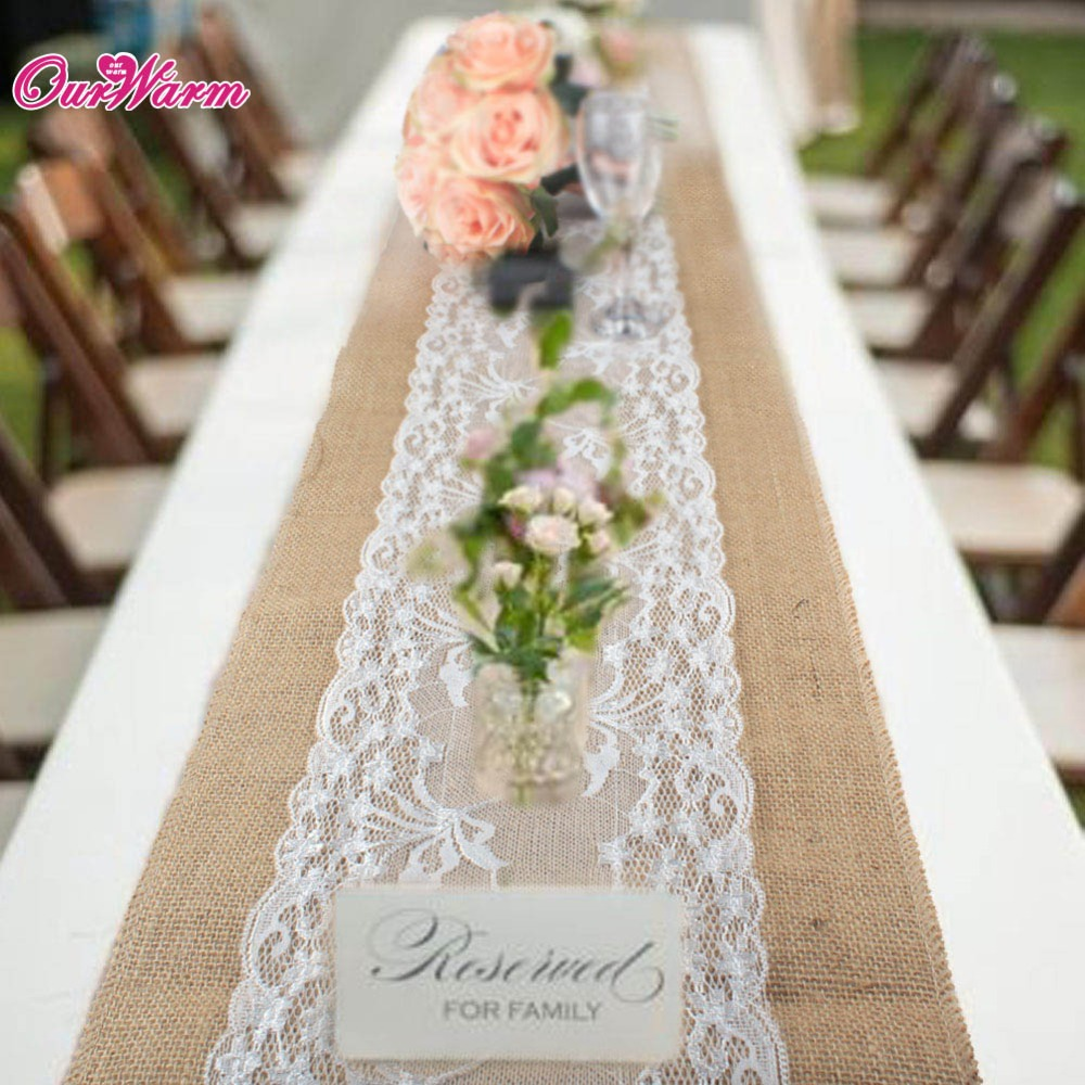 275 x 30 cm Burlap Table Runner Rustic Lace rose wedding party Decoración de yute Hessian Vintage mantel cubierta toalla juego de té