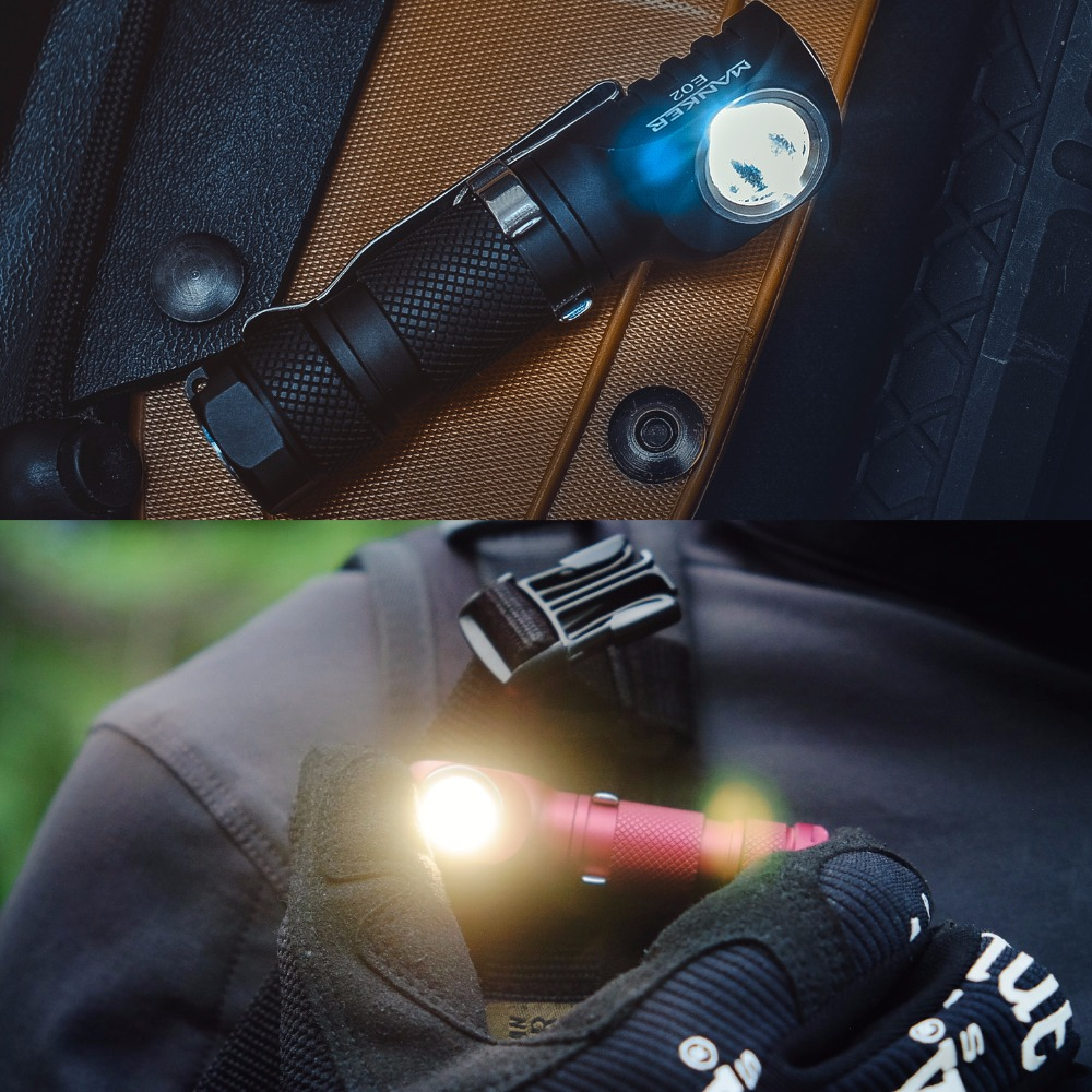 Manker E02 220 Lumen CREE XPG3 /180lm Nichia 219C LED Keychain Light Mini EDC LED Flashlight with Reversible Clip & Magnet Tail  5