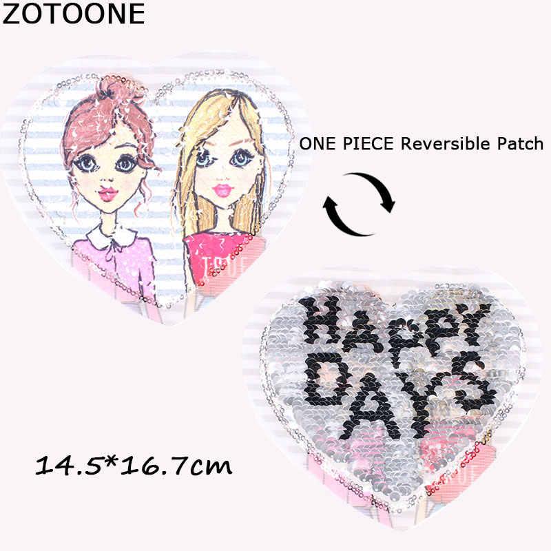 ZOTOONE 새로운 심장 모양 가역 변경 색상 장식 조각 의류에 대 한 패치에 바느질 DIY 패치 Applique 의류 코트 스웨터 공예