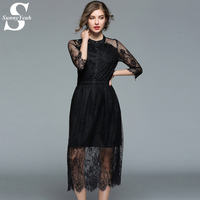 SunnyYeah Women Casual Spring Summer Lace Dress Maxi 2018 New Runway Slim Mesh Sexy Black Party
