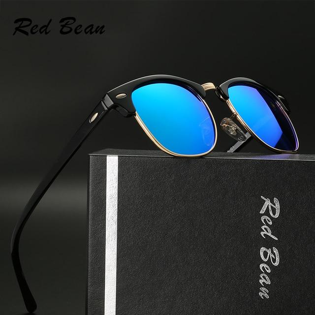 e4cd9c85b67e4 Homem Óculos Polarizados TR Liga Metade Quadro De Feijão vermelho Boa  Qualidade Piloto Aviador UV400 Proteção