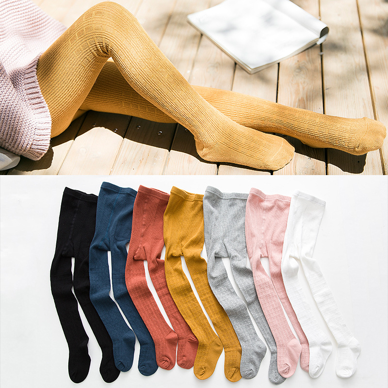 0db4a3d8b7a10 1-8Y Kids Girls Skinny Pants Leggings Autumn Cotton Stockings Toddler Yellow  Leg Warmers Winter Warm Pantyhose Children Clothes