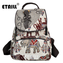 ETAILL Thai Ethnic Style Elephant Embroidered Canvas Backpack Vintage Hmong Indian Embroidery Bohemian Boho Rucksack
