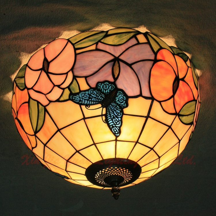 European  12 inch  E27 110-240V Pastoral butterfly Ceiling Light Tiffany Round Glass Lampshade lamparas de techo abajurEuropean  12 inch  E27 110-240V Pastoral butterfly Ceiling Light Tiffany Round Glass Lampshade lamparas de techo abajur
