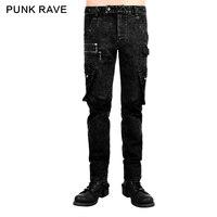 Punk Rave Rock Fashion Leather Personality Men's Pants Trousers Visual Kei Steampunk Emo K224