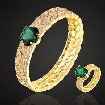 Zlxgirl de alta calidad verde cúbico zirconia flor brazalete con anillo conjunto de joyería moda mujeres tamaño cobre pavé ajuste pulsera conjuntos