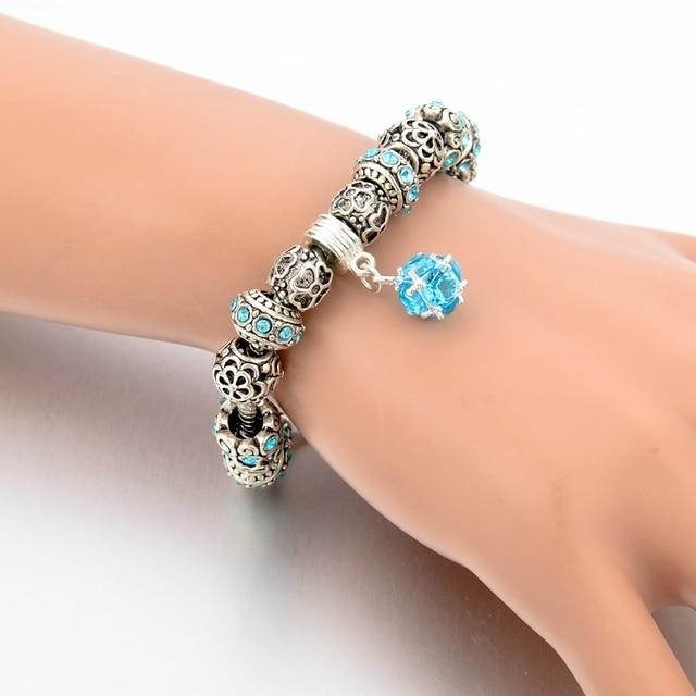 Chicvie синий полый цветок браслеты кольца ручной работы Шарм