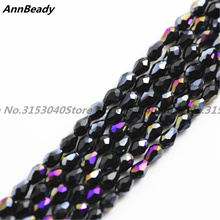 100pcs Black AB Color 3*5mm Teardrop shape Loose Austria Crystal waterdrop Beads For Jewelry DIY Making