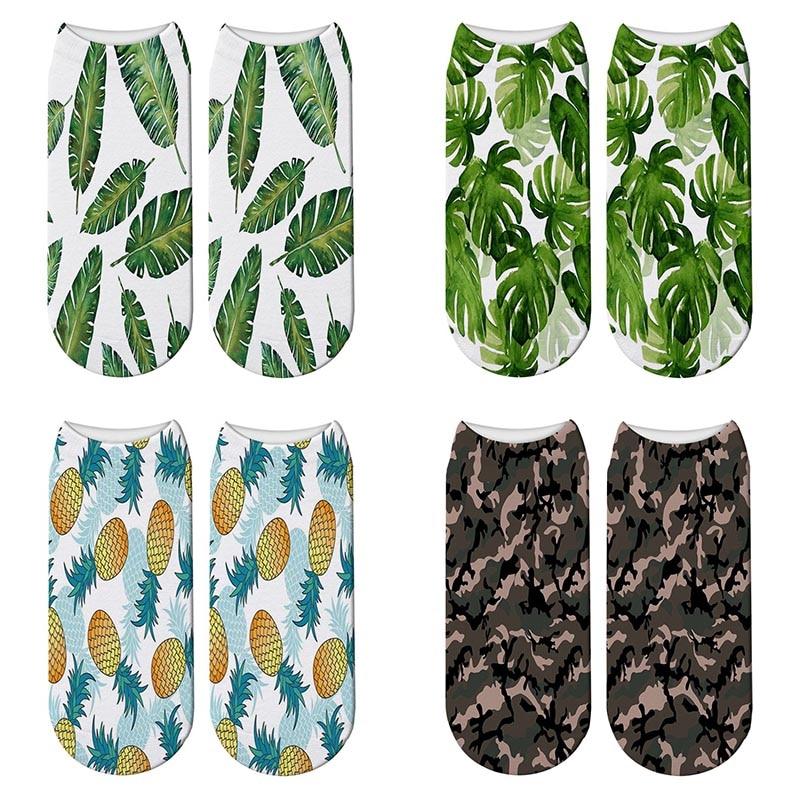 New 3D Printed Turtle Leaves Tropical Socks Women Cute Camouflage Short Socks Kawaii Pineapple Ankle Socks Calcetines Mujer