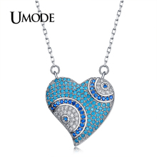 UMODE Circle Eye Love Heart Pendant Chain Necklaces for Women Colorful CZ Fashion Jewelry Valentine's Day Gift Collier UN0262B