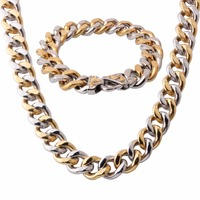 High Quality Men Boy 316L Stainless Steel Jewelry Set Silver Gold Necklace Bracelet Curb Cuban Link Chain Jewelry Gift