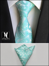 8cm New Style Tie Set Bridegroom Luxury Necktie White with Mint Green Paisley Ties Jacquard Woven Gravata Handkerchief