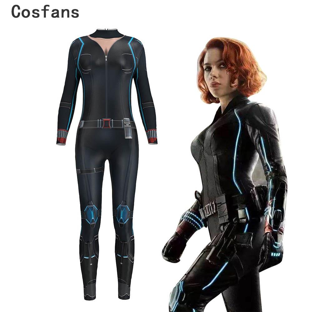 2019 Digital Print Sexy Cosplay Costume For Women Black Widow Avengers Infinity War Natalia Alianovna Romanova Bodysuit Jumpsuit