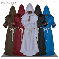 Medieval Costumes Monk Cosplay Wizard Hooded Robe Friar Priest Costumes Halloween Clothing Church Cowl For Man