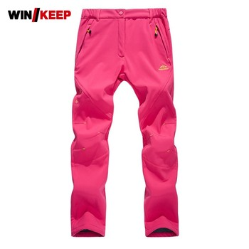Brand Outdoor Trekking Cycling Women Pants Winter Plus Velvet Thick Skiing Woman Pant Stretch Equestrian Trousers Female M-4XL