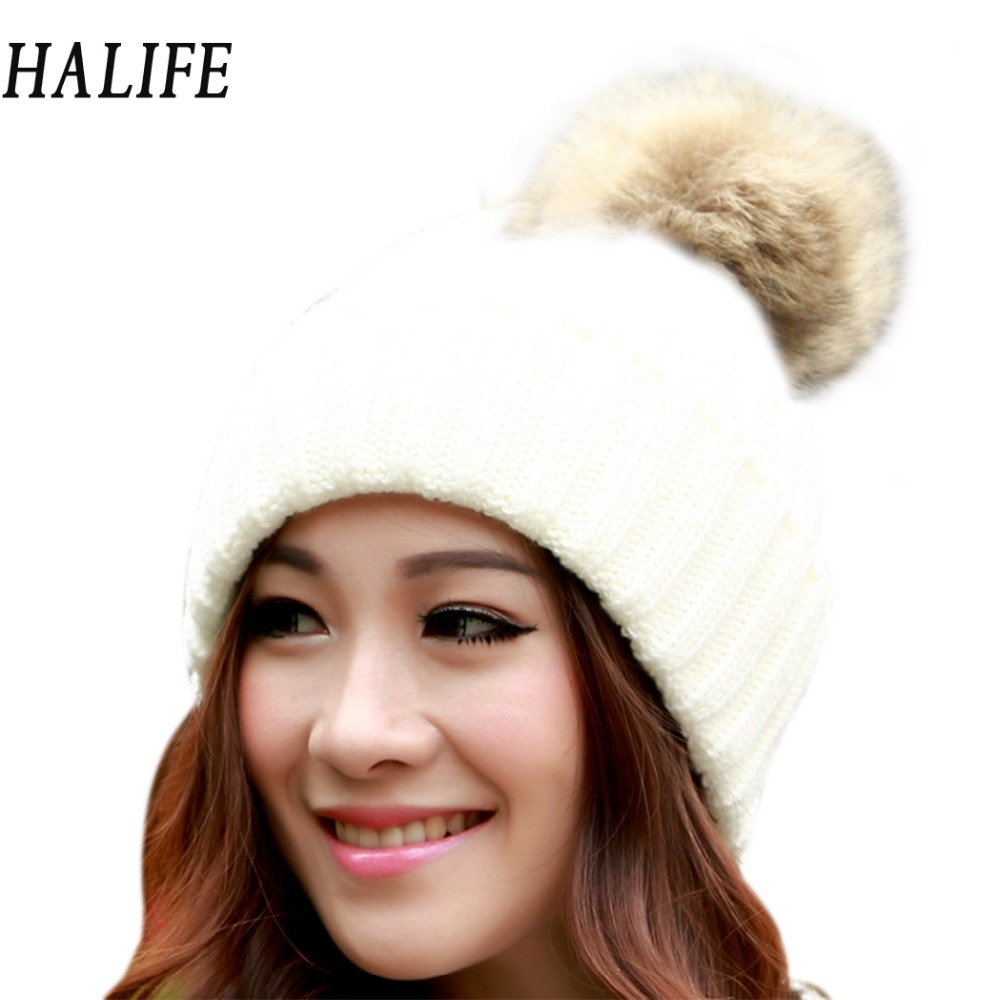 HALIFE Warm Winter Hats For Women Girls Knitted Hat Cap With Fur Woolen Slouch Beanie Bonnet Femme Beanies Balaclava Gorro 630 2017 new women ladies cable knitted winter hats bonnet femme cotton slouch baggy cap crochet beanie gorros hat for women