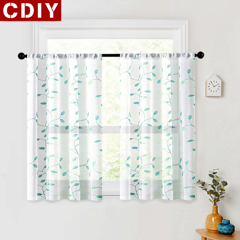 CDIY Floral Short Curtains For Living room Tulle Window Curtains For The Kitchen Sheer Voile Curtain Window Screening Treatment