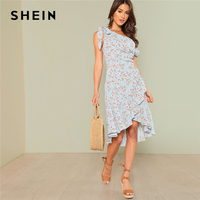 SHEIN Asymmetric Shoulder Ditsy Wrap Dress Women Ruffle Short Sleeve Knee Length Zipper Floral Dress 2018