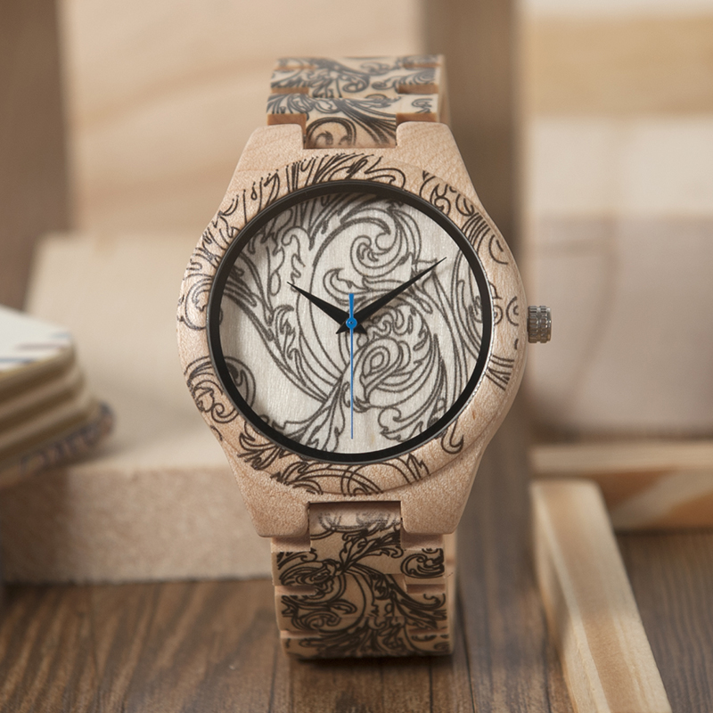 9c17446589a1 BOBOBIRD Tatto imprimir relojes de madera para hombre todo Arce ...