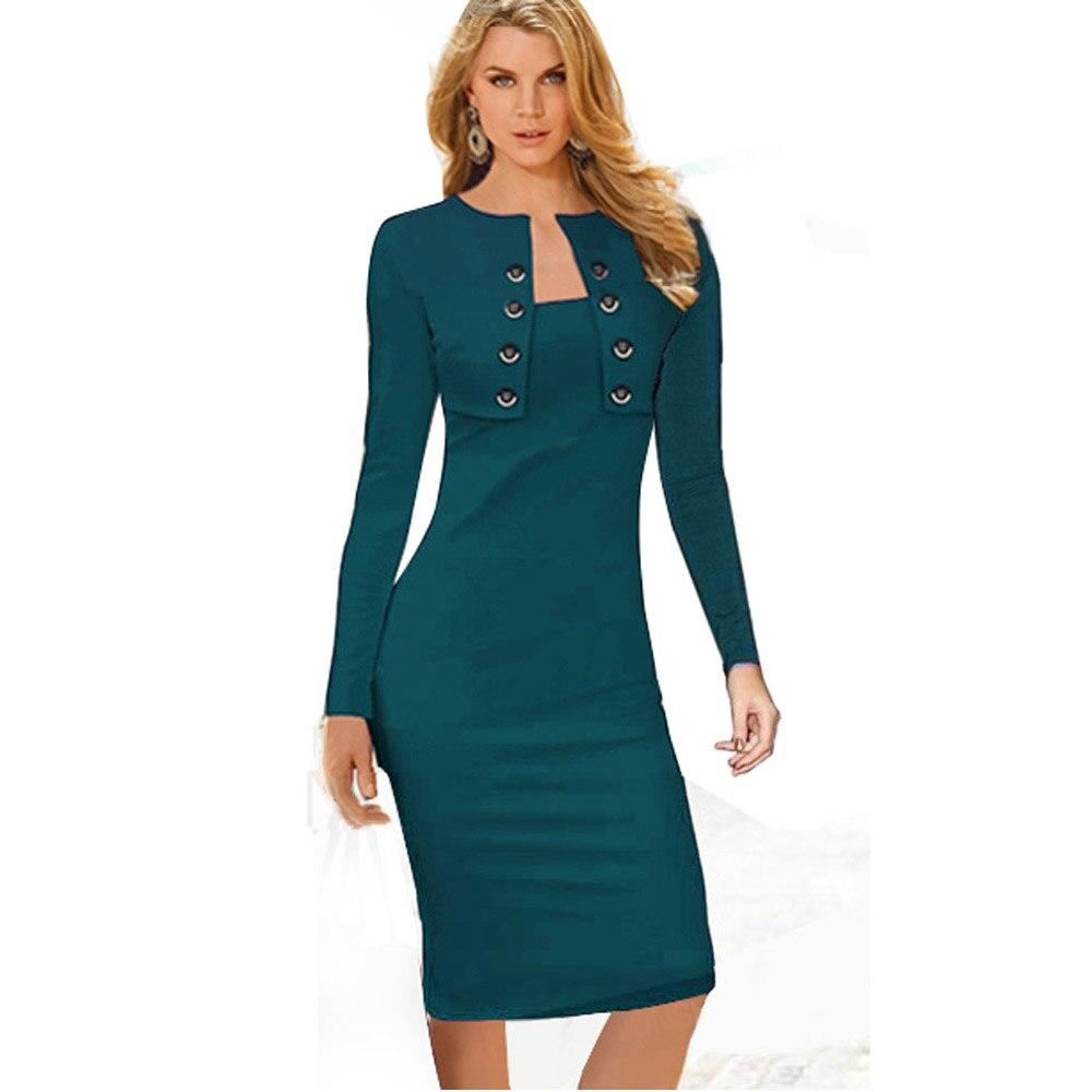 Autumn Winter Women Business Casual Sliming Pencil Dresses Elegant Long Sleeve Office Ladies Wear To Work EB10 bag