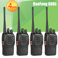 4pcs BaoFeng BF 888S UHF Rechargeable Walkie Talkies CB two Way Radio Communicator Portable Handheld Two Way Radio Transceiver