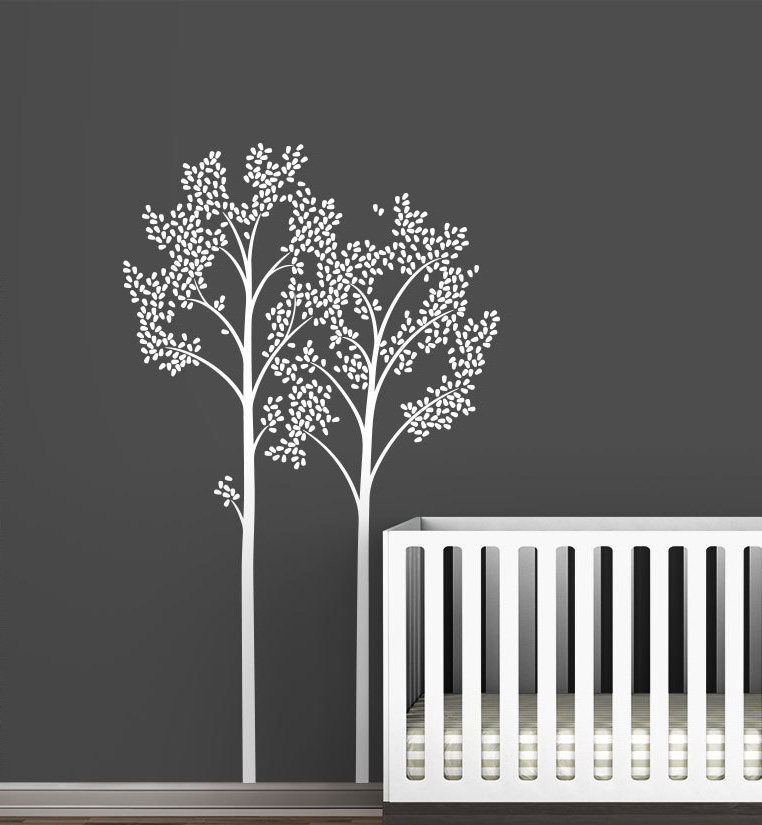 Us 29 59 26 Off Monochromatic Two Trees Wall Decals Modern Kids Baby Room Nursery Decor Vinyl Stickers Home Decal Art Mural A214 In