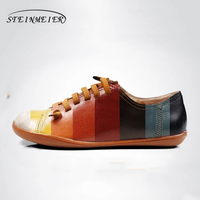 Women Sheepskin Flat Shoes Round Toe Lace Up Ladies Shoes Flats Woman Moccasins Female Footwear Sneakers