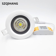 купить 10W 12W 15W 20W IP65 waterproof Dimmable COB downlight Recessed COB Ceiling lamp led downlight led spot lamp AC110V AC220V онлайн