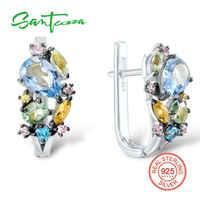 SANTUZZA srebrne kolczyki dla kobiet oryginalne 925 kolczyki sztyfty ze srebra wysokiej próby kolorowy klejnot kamienie brincos modna elegancka biżuteria