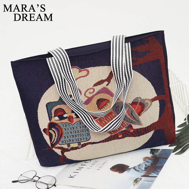 Mara's Dream Women Bag Women's Canvas Handbag Embroidery Owl Tote Lady Shopping Bag Shoulder Bags 2018 Summer Holiday Beach Bags 1