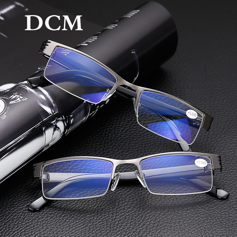DCM Men Women Titanium Alloy Reading Glasses Blue Film Resin Prescription Eyeglasses +1.00 1.50 2.00 2.50 3.00 3.50 4.00 Diopter image