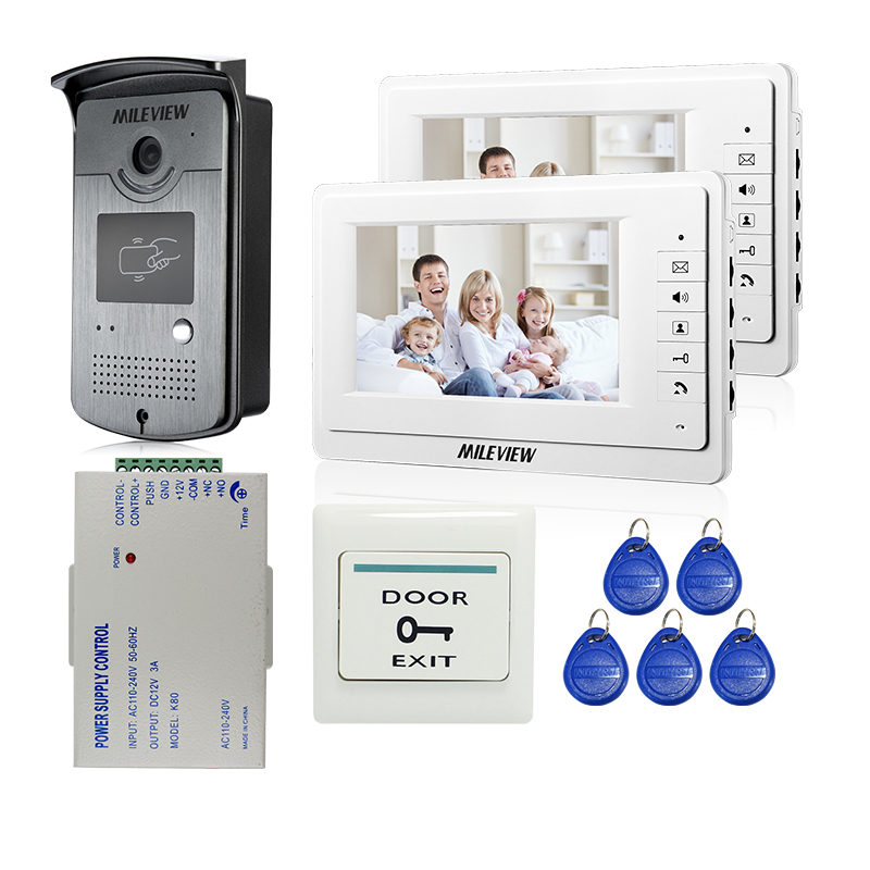 Wired 7 Color Monitor Video Door Phone Intercom Kit + 2 Screen + Outdoor RFID Doorbell Camera + 12V Power Control FREE SHIPPING