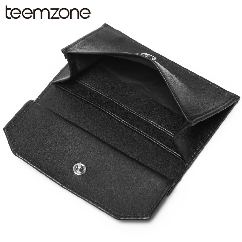 Teemzone 2018 Men Women Business Credit Card Holder Metal RFID Double Aluminium Box PU Leather Fshion Casual Card Wallet K375