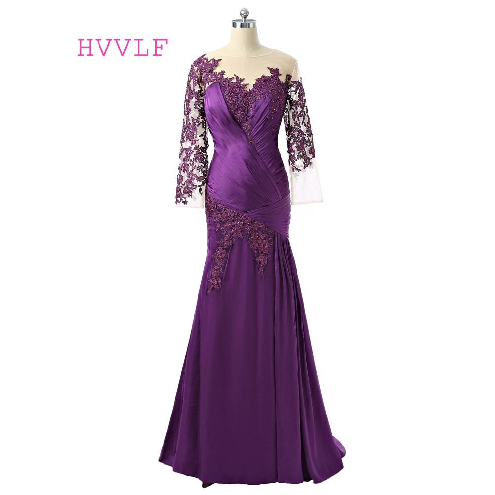 Purple 2019 Mother Of The Bride Dresses Mermaid 3/4 Sleeves Tafffeta Beaded Long Brides Mother Dresses For Weddings Plus Size