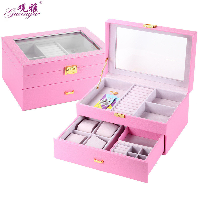 Guanya leather Jewelry Carrying Case Beautiful Ring earings necklace watch Packaging Box Nice Gift Box for