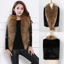 Autumn and Winter Women Raccoon Fur Collar Coat MT0906