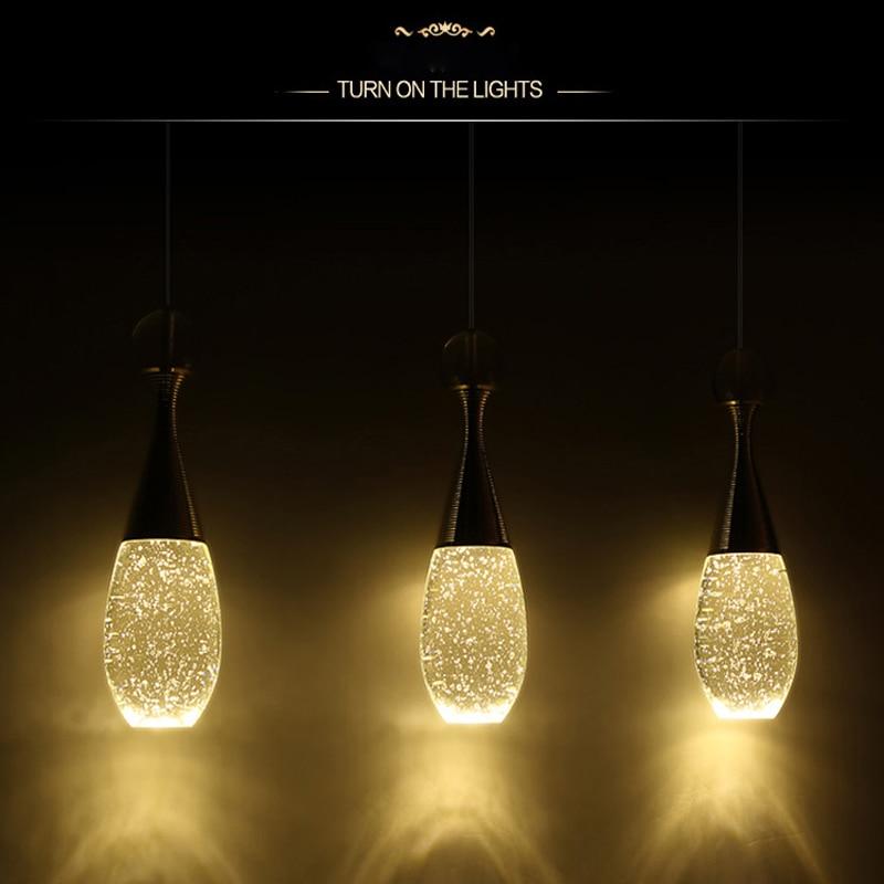 GentelWay moderne pendentif lumineux LED ampoule Art créatif verre parfum bouteille cristal suspendus plafond bulles lampe pour éclairage de barre