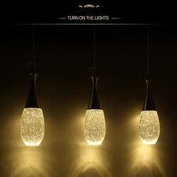 GentelWay nowoczesna lampa wisząca LED żarówka kreatywna sztuka szklana butelka perfum kryształowa lampa wisząca sufitowa lampa na oświetlenie barowe