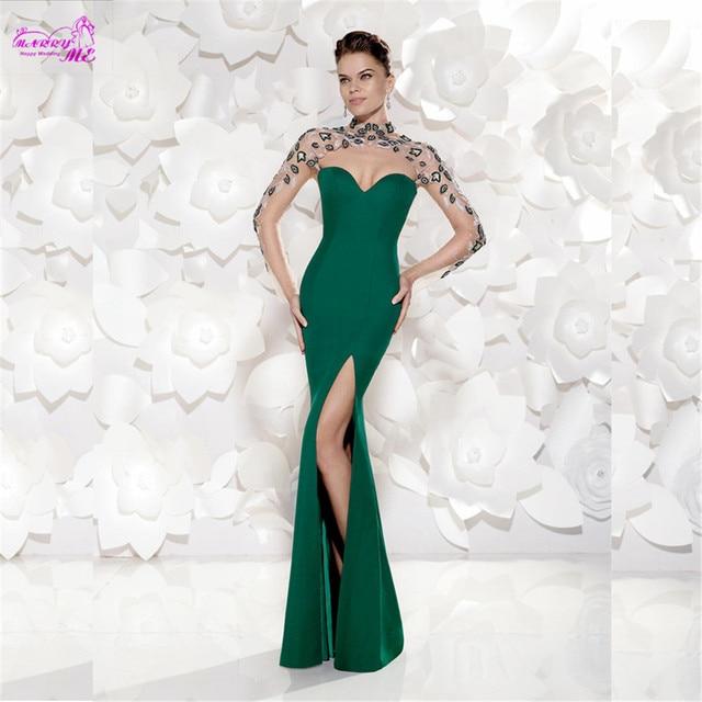 0f4fd7d6c Verde esmeralda Prom alta fenda vestidos com bordado elegante Vestido De  manga comprida Vestido De Festa