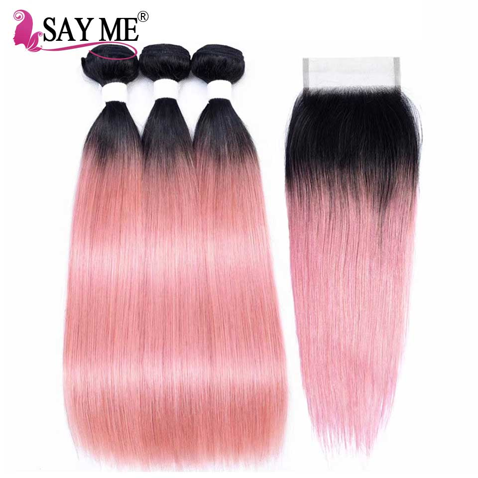 Rose Gold Remy Ombre Bundles with Closure Straight Hair Bundles With Closure Brazilian Human Hair Weave