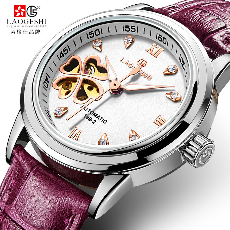 Women Automatic Mechanical Watches Diamond Four leaf Clover WristWatches Ladies Rose Leather Watch Waterproof Senhoras Assistir