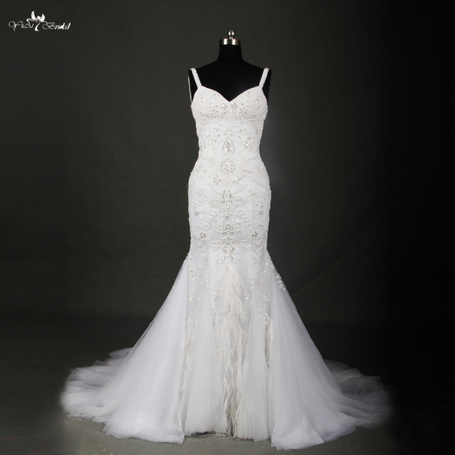 Black and White Feather Wedding Dress