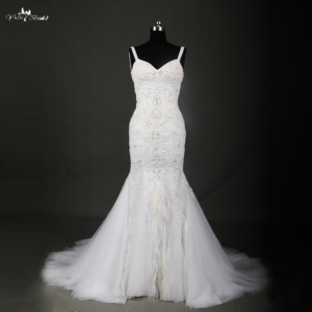 rsw715 ostrich feather wedding dress crystal beaded mermaid wedding dresseschina mainland
