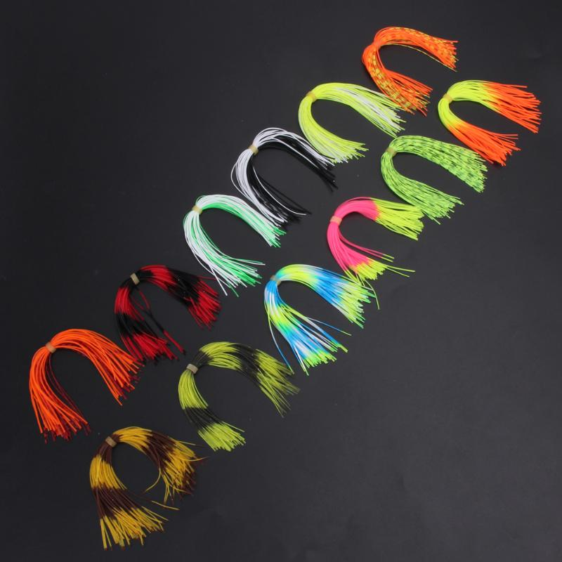 12 Bundles Silicone Legs Barred Color Flake Squid Lure Thread 13cm Length