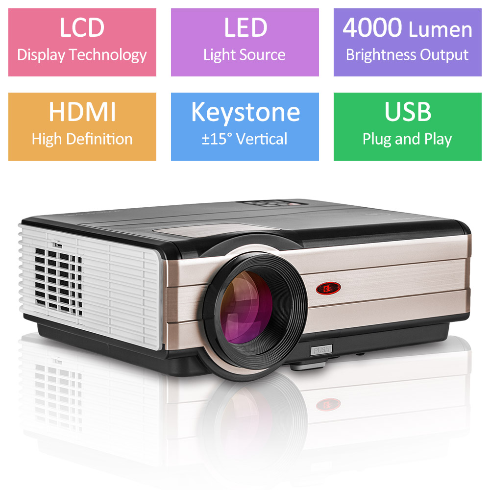 CAIWEI Home theater Beamer LED Projector Full HD 1080P Video Movies Games Digital HDMI VGA USB 4000 Lumens Proyector cheap china digital 1000lumens hdmi usb home theater best hd 1080p portable pico lcd led video mini projector beamer proyector