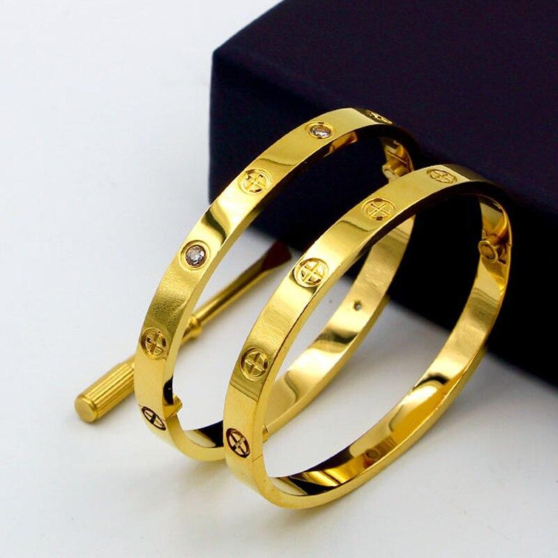 Titanio lujo diseño clásico Cruz amor pulseras Brazaletes con Destornilladores amantes pulsera brazalete de oro rosa tornillo pulsera