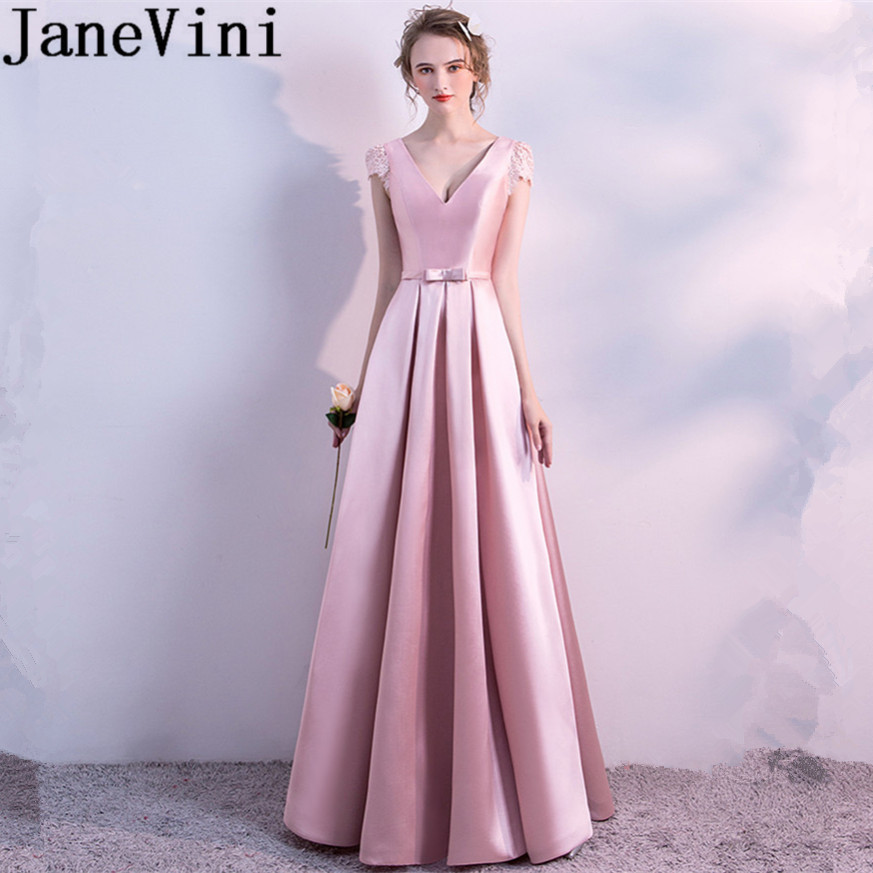 JaneVini Simple Pink Long Bridesmaid Dresses V-Neck Sleeveless Lace-up Back Pleat Floor Length Women Dress for Wedding Party