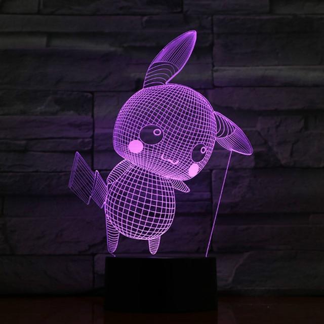 Holiday Bedroom Night Lamp Go Gift For Decor Figure Pokemon Pikachu Colorful Kid Light Luminaria Indoor kOPuZiX