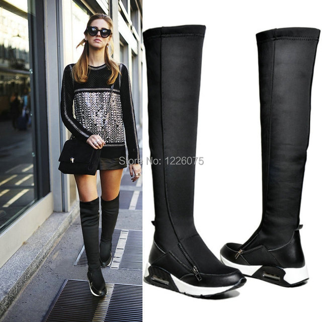 6e9cd240ba7 Women Flat Platform Sneakers Stretch Knee High Leather Boots Breathable  Creepers us size4 4.5 5 6 7 8 gold/silver color